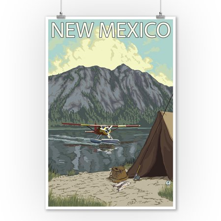 Bush Plane Fishing - New Mexico - LP Original Poster (9x12 Art Print, Wall Decor Travel (Mexican Bush)