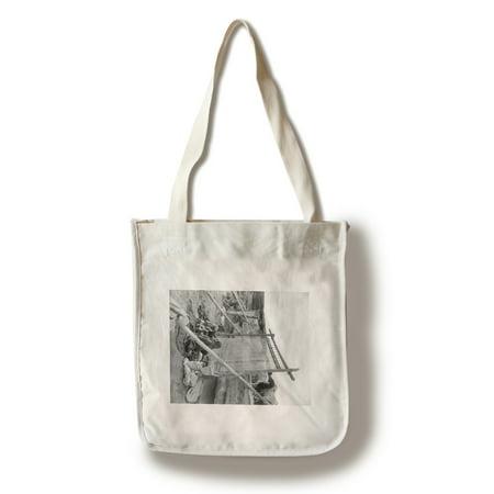 Navajo Women Weaving Blankets - Vintage Photograph (100% Cotton Tote Bag - Reusable)