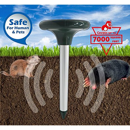 Solar Mole Repeller Outdoor Gopher Repellent Waterproof Chipmunk Deterrent Rodent Mice Snake Vole Shrews Powered Sonic Chaser Ultrasonic Pest Spike for Lawn Back Yards Home Garden Backyard Ranch (Snake And Mouse Best Friends)