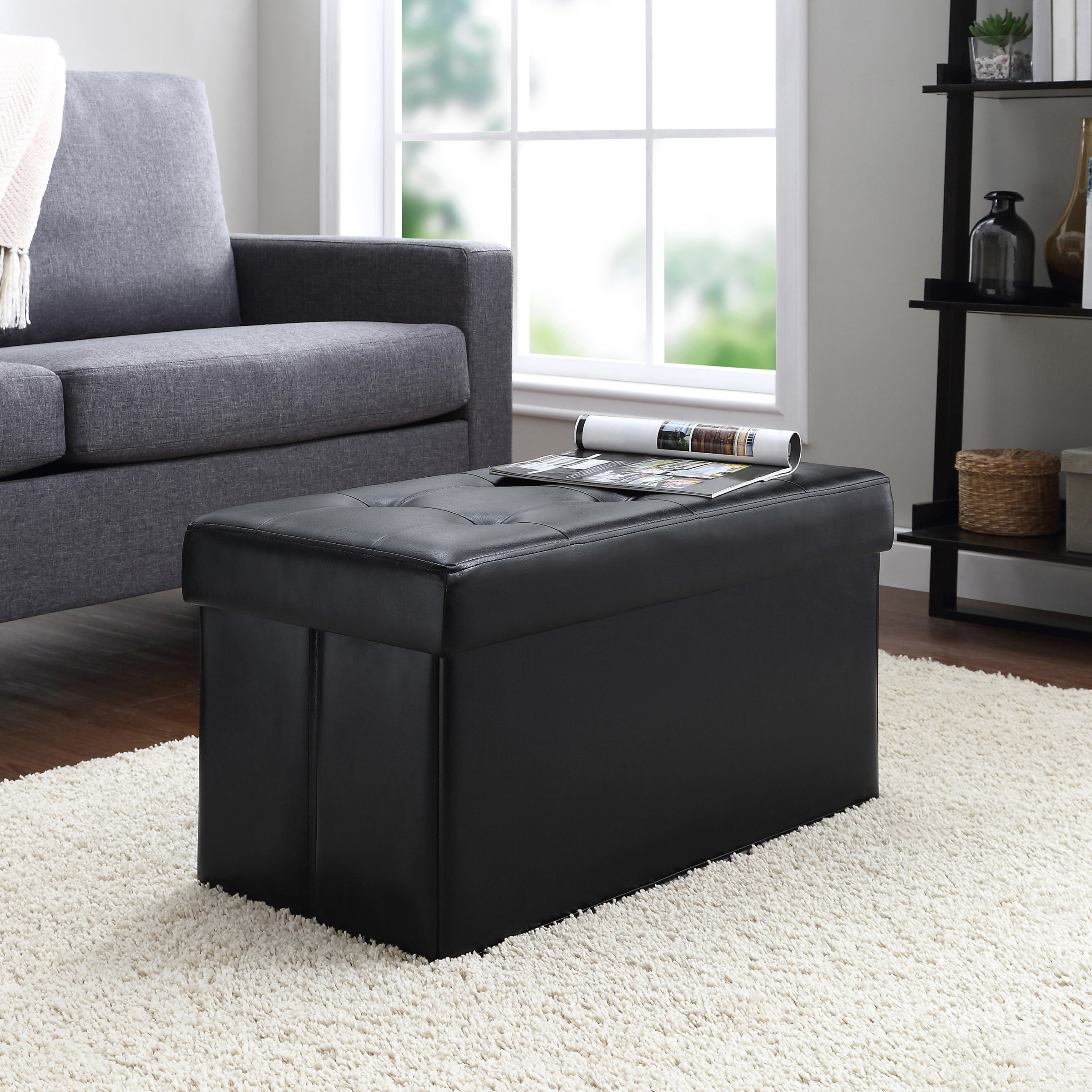 Incredible Mainstays Collapsible Storage Ottoman Quilted Black Faux Leather Walmart Com Ncnpc Chair Design For Home Ncnpcorg