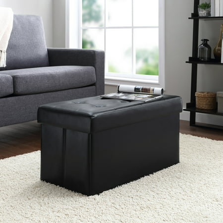Mainstays Collapsible Storage Ottoman, Quilted Black Faux