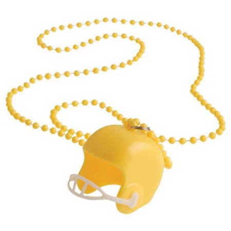(Price/12 Pieces)US TOY KD30-08 Yellow Bead Necklaces With Football Helmets - Football Bead Necklaces