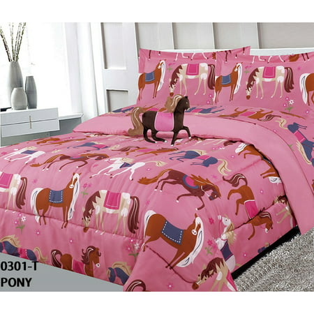 Golden Linens Kids Bed-in-Bag Printed Multicolor Light Pink, Brown Little Girls Pony Horses Design Twin Size Comforter, Sheet Set with Pillow Cushion Toy # 6 Pcs Pony