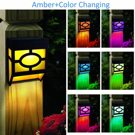 Kanstar Pack of 4 Solar Powered Color Changing Mount Light Outdoor Landscape Garden Yard Fence Amber