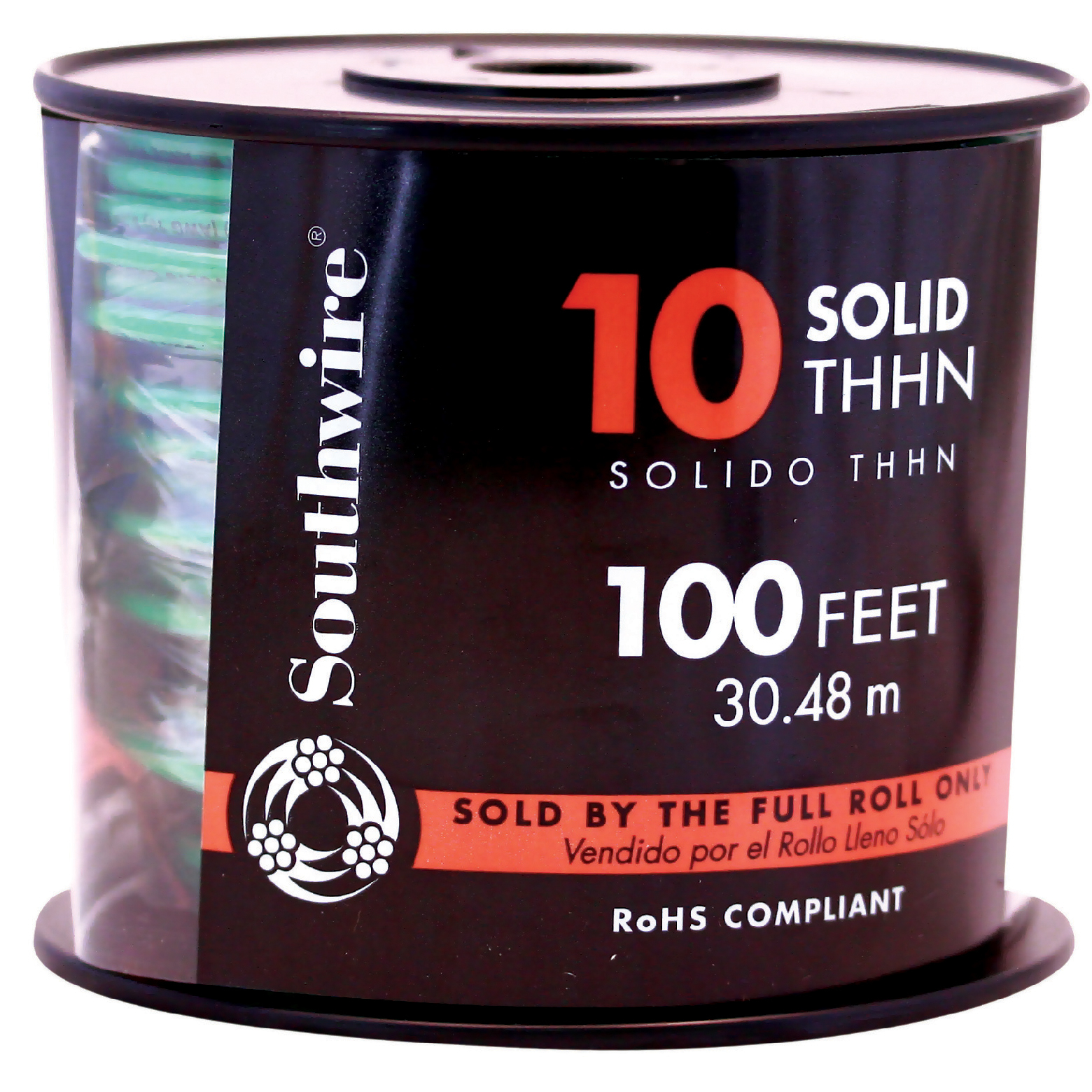 Southwire 11599808 100' 10 Gauge Solid Green Thhn Wire