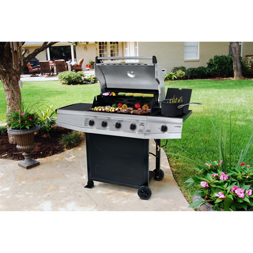 Brinkmann 61,500 BTU 4-Burner Gas Grill with Side Burner, Stainless-Steel Hood