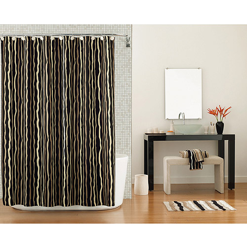 Hometrends Kanai Shower Curtain, Rich Black
