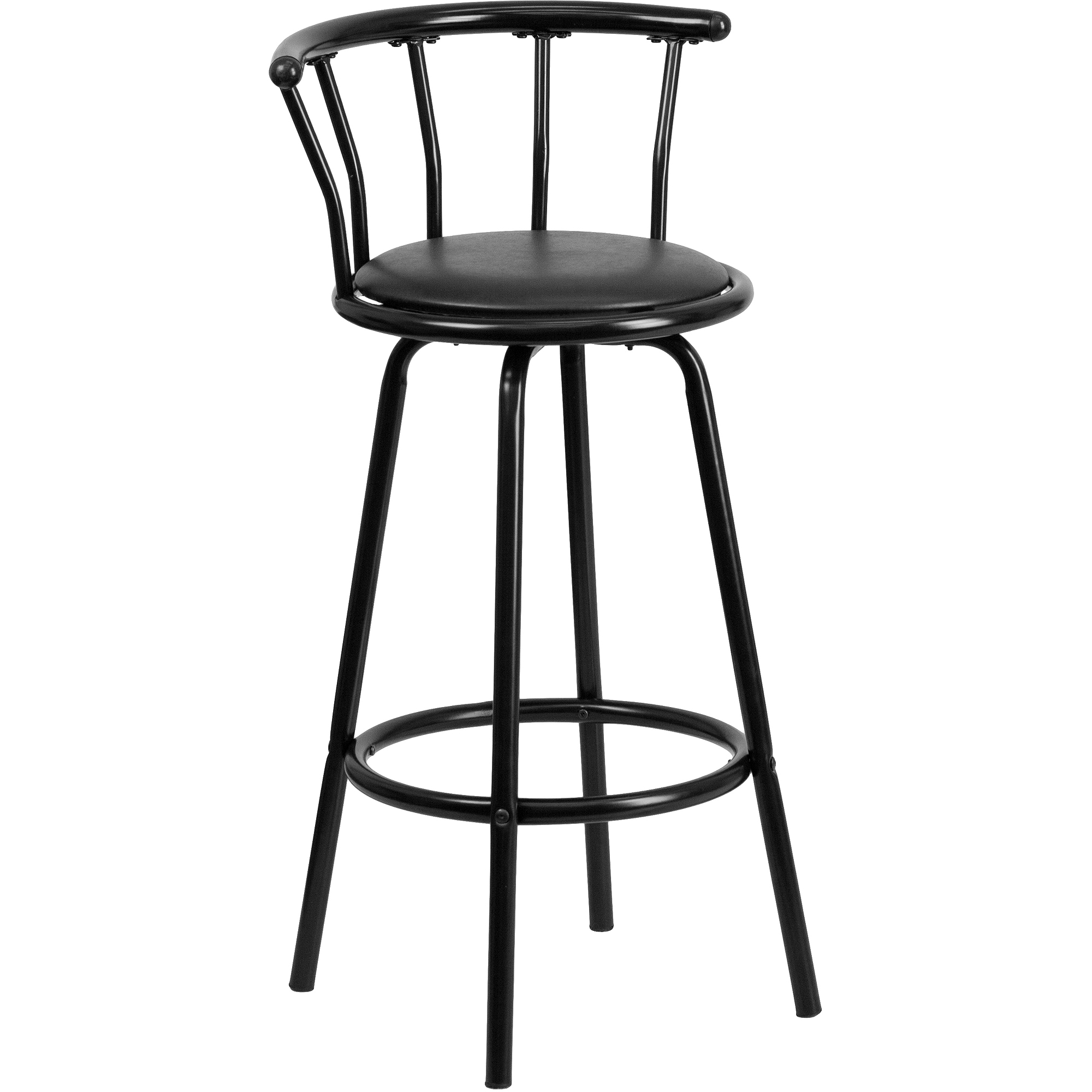 Flash Furniture Crown Back Black Metal Bar Stool with Black Vinyl