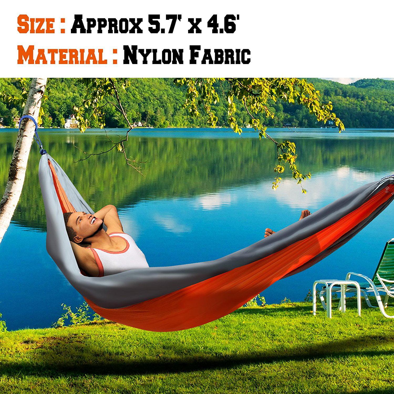 Sunrise Portable Nylon Parachute Hammock Light Travel Camping, Hiking, Swing Bed (Orange/Grey)