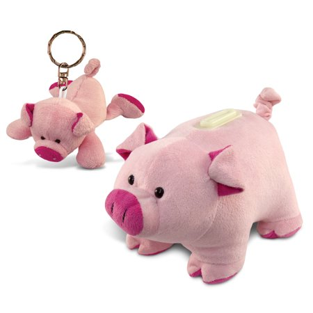 Puzzled Pig Plush Keychain and Bank - Animals Theme - Set of 2 - Unique and U