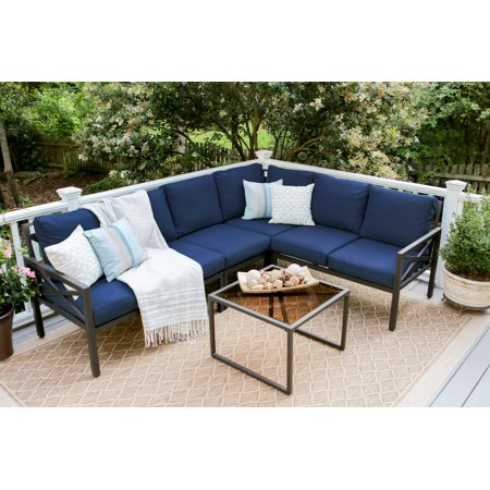 5pc Blakely Aluminum Corner Sectional Navy - Leisure Made