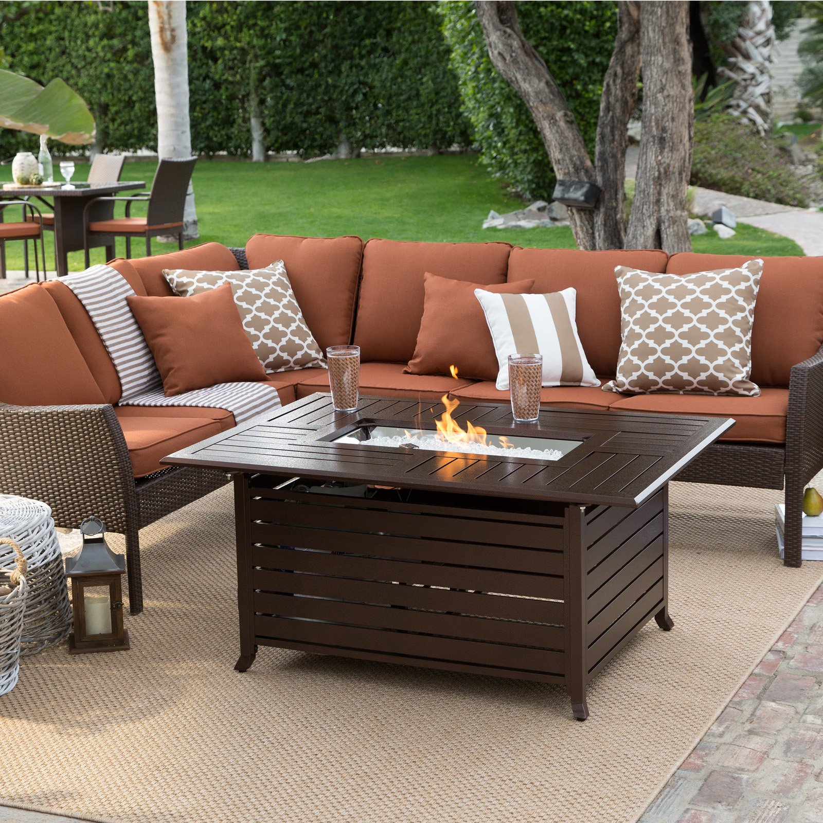 Belham Living Devon All Weather Wicker Fire Pit Conversation Set