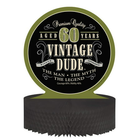 Access Vintage Dude 60th Birthday Honeycomb Centerpiece, 1 Ct
