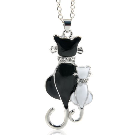 - Black Cat White Kitten Tarnish Resistant Animal Necklace Pendant Jewelry, J-187-C
