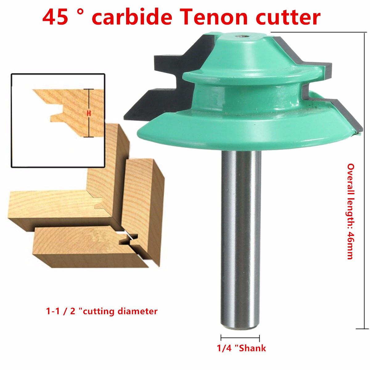 "45° Degree Lock Miter Router Bit 1-1/2"" Diameter 1/4"" Shank Wood Cutter Tools"
