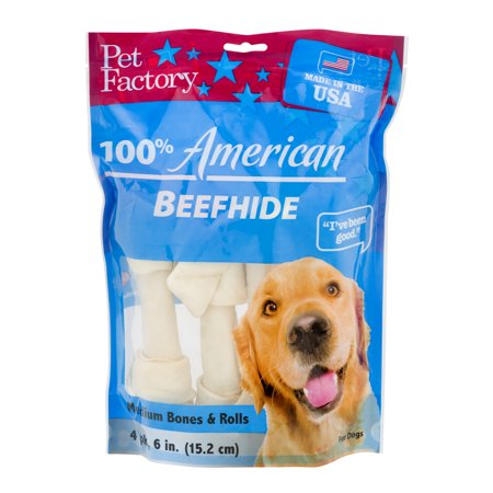 Pet Factory 100% American Beef Hide Medium Bones & Rolls - 4 PK, 4.0 PACK American Standard Town Square Bone