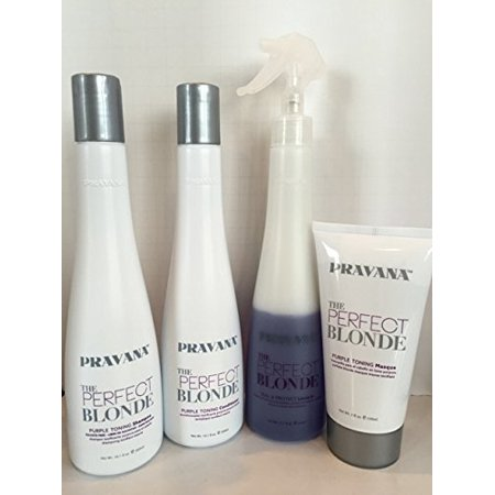 Perfect Set - Pravana The Perfect Blonde Purple Toning Shampoo, Conditioner, Masque & Leave In Spray Set