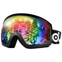 Odoland S2 General OTG Ski Goggles Double Anti-Fog Lenses w/ UV400 Protection for Adult Snowboarding Skating Sledding-Black