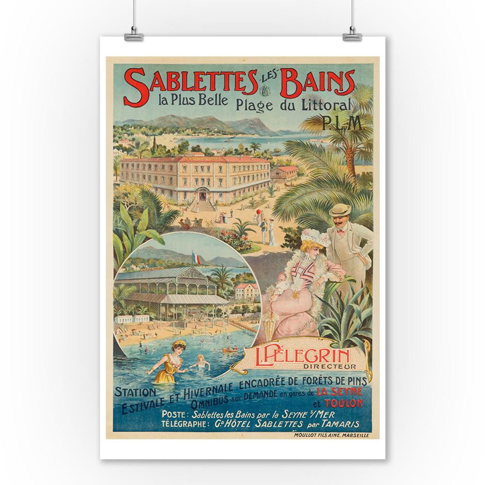 Sablettes - les - Bains Vintage Poster (artist: Beauvais) France c. 1895 (9x12 Art Print, Wall Decor Travel Poster)