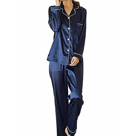 Lookwoild Ladies Satin Silk Pyjama Set Silky Summer Lounge wear Pajamas long sleeve pjs Long John Pjs