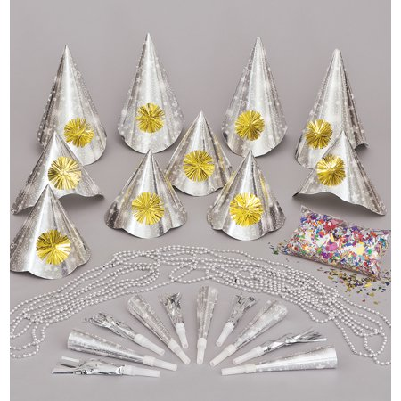 Silver New Years Eve Party Accessories Pack Set for 10,