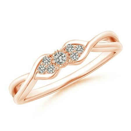 April Birthstone Ring - Illusion Set Diamond Crossover Promise Ring in 14K Rose Gold (2mm Diamond) - SR1588D-RG-KI3-2-6.5