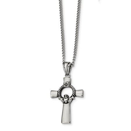 Mia Diamonds Stainless Steel Antiqued and Polished Claddagh Cross 22 inch Necklace -
