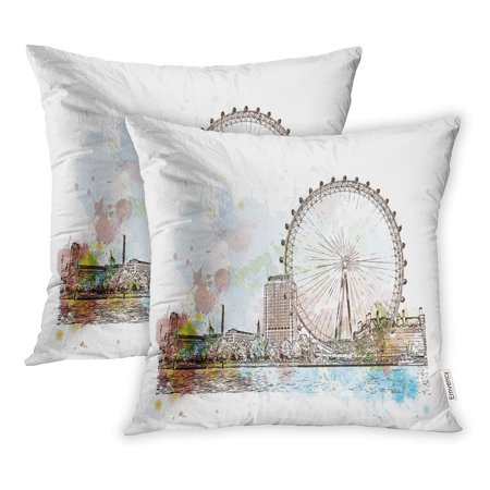 ECCOT Eye Watercolor Sketch of Giant Ferry London UK United Kingdom England in Hand City Pillowcase Pillow Cover 18x18 inch Set of 2 - Sketch London Halloween