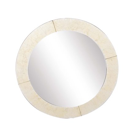 Decmode Modern Wood Round Framed Wall Mirror Gold