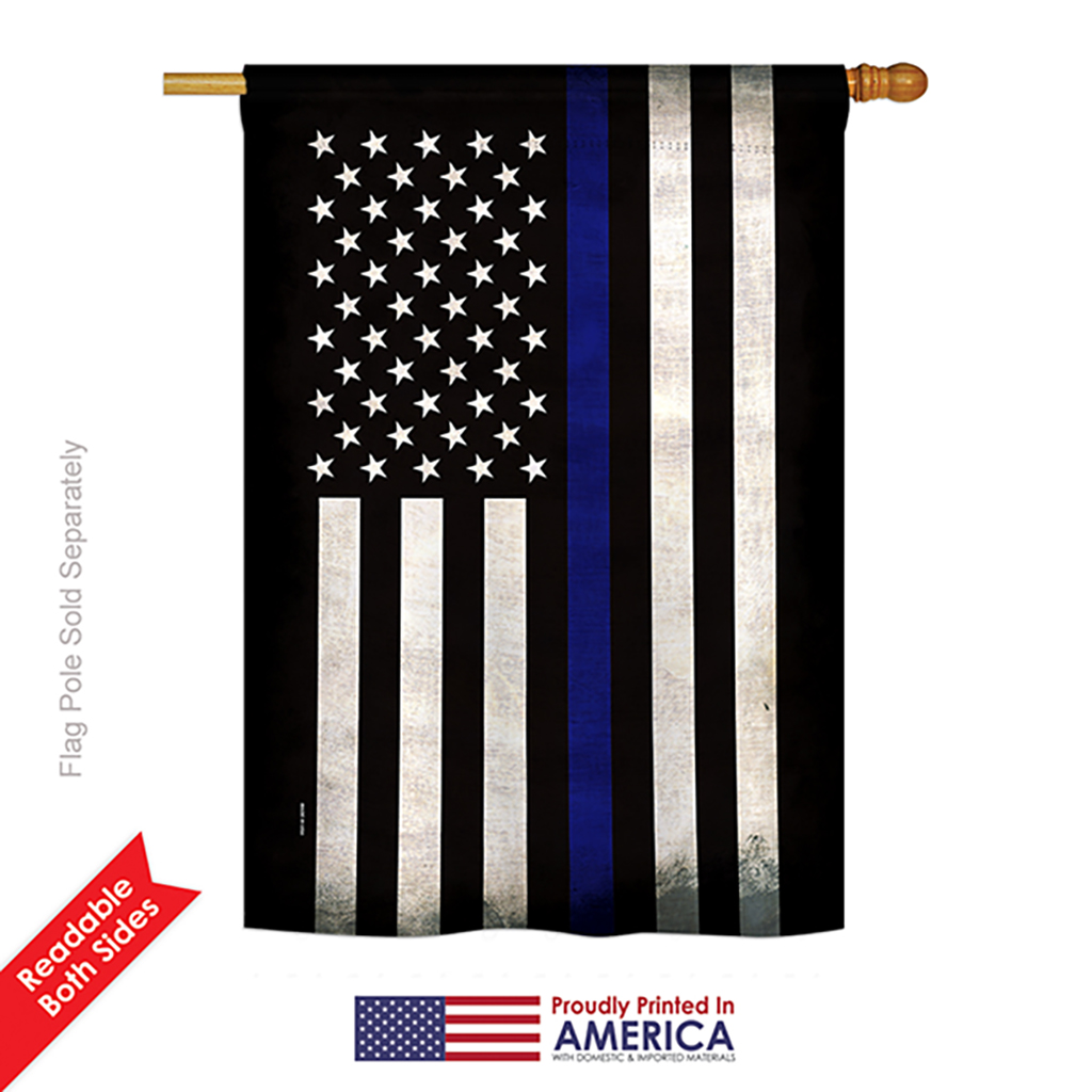 Angeleno Heritage H137038 Bo Thin Blue Line Americana Military Impressions Decorative Vertical 28 X 40 Double Sided House Flag Printed In Walmart Com Walmart Com