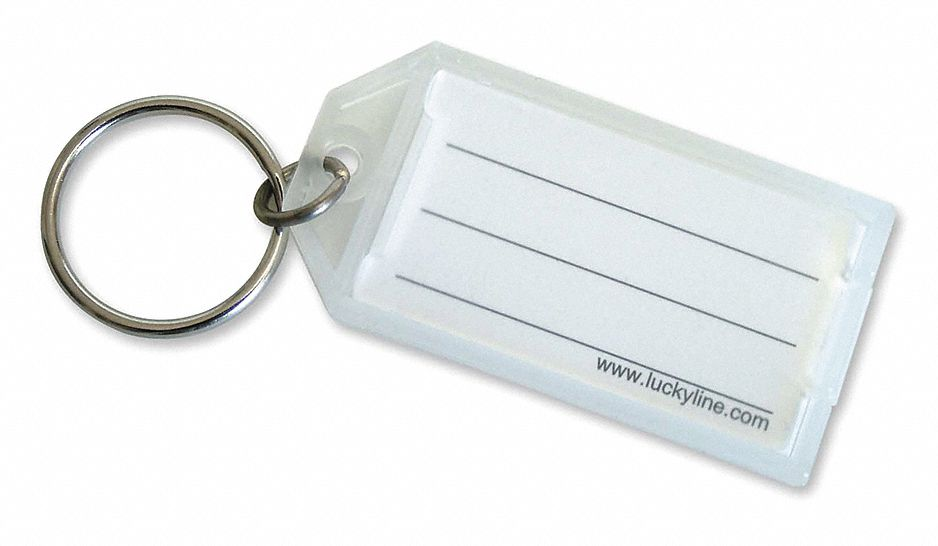 "Lucky Line Products 2-1 4"" x 1-1 8"" Open Close Flap Key Tag, Clear; PK10 6051010 by LUCKY LINE PRODUCTS"