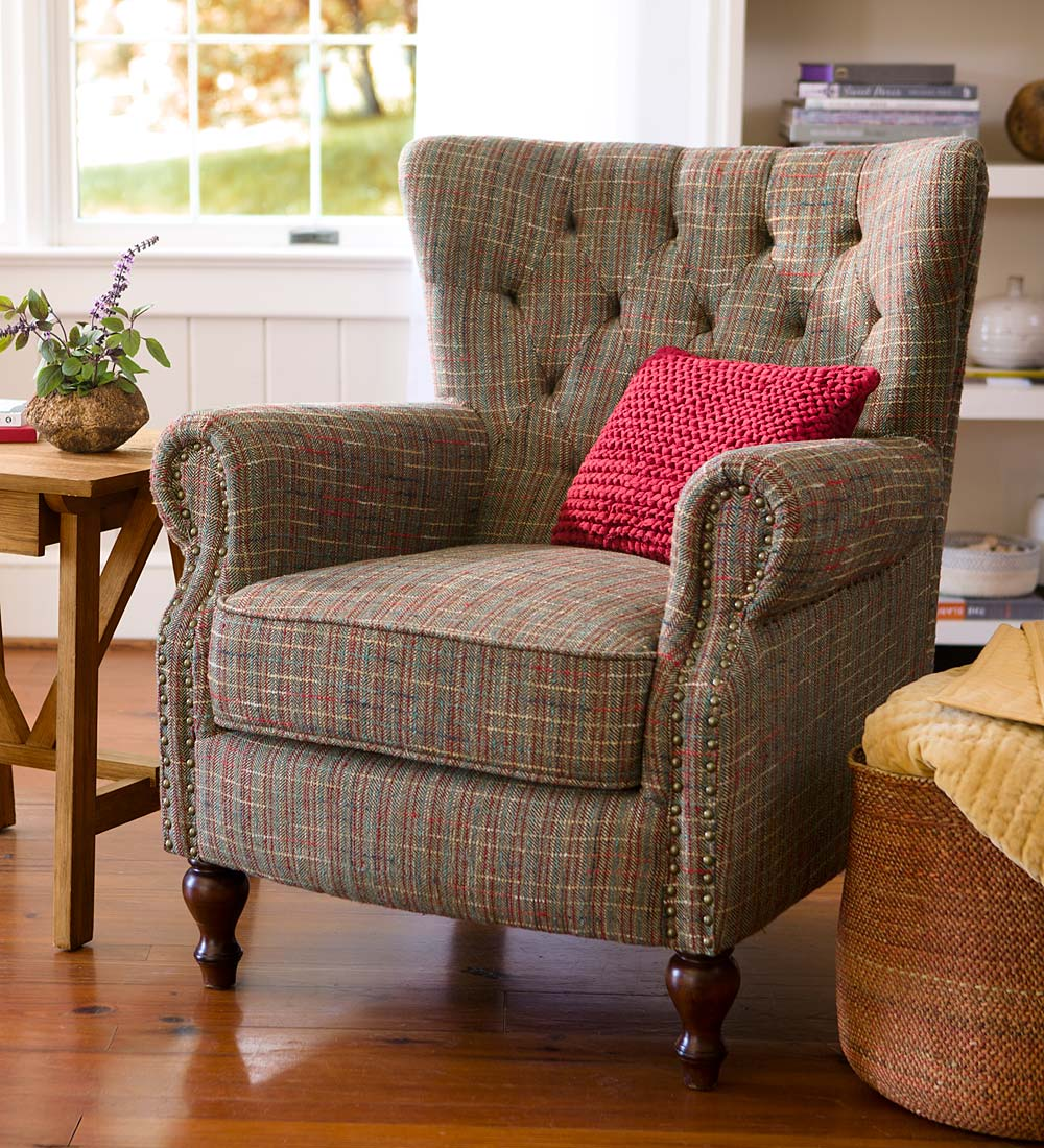 Madison Upholstered Wingback Chair With Birch Wood Base