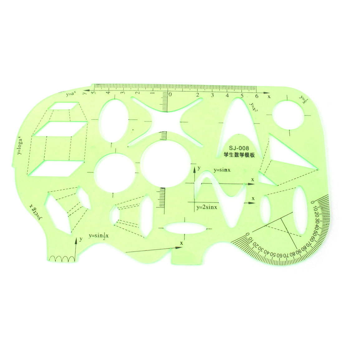 Unique Bargains Students Clear Green Plastic Maths Drawing Protractor Template Ruler