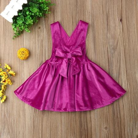 Toddler Kids Baby Girls Velvet Suspender Skirt Dress Bowknot Tutu Dress Strap Sundress Summer Outfit Clothes