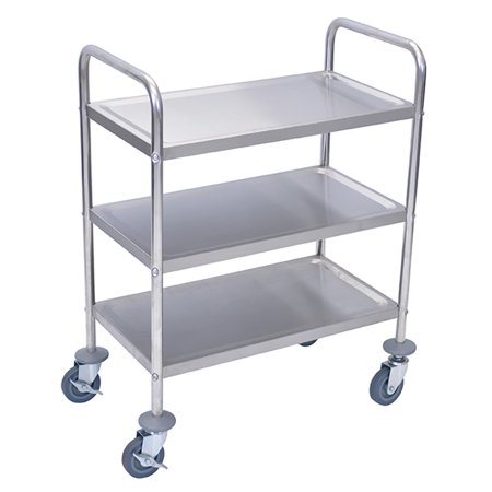 """Image of """"Offex OF-L100S3 - 37""""""""H Stainless Steel Cart - Three Shelves"""""""