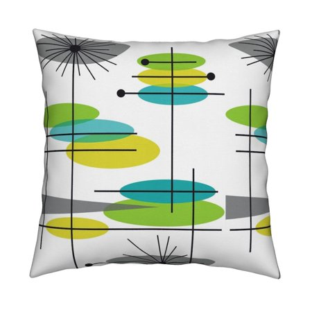 - Mid-Century Modern Retro Mod Throw Pillow Cover w Optional Insert by Roostery