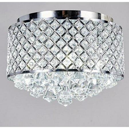New Legend 4-light Chrome Finish Round Metal Shade Crystal Chandelier Flush Mount Ceiling Fixture
