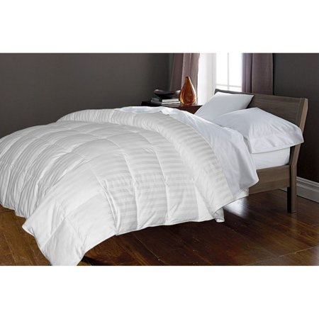 350 TC Cotton Damask Stripe Cover White Goose Down Comforter - Down On The Count