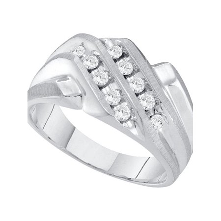 10kt White Gold Mens Round Diamond Cluster Band Ring 1/3 Cttw - image 1 of 1