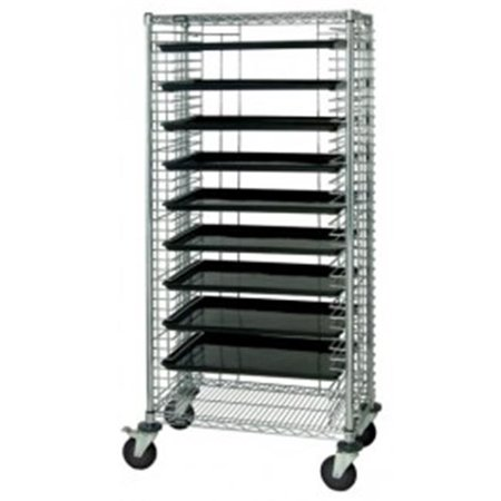 Quantum Storage TC-39CO Chrome Conductive Systems Wire Shelving ESD Tray Carts - 30 x 18 x 69 in.
