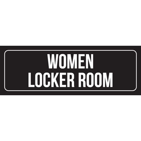 Duke Locker Room - Black Background With White Font Women Locker Room Outdoor & Indoor Office Plastic Wall Sign, 3x9 Inch
