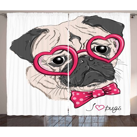 Pug Curtains 2 Panels Set, Fashionable Dog with Heart Shaped Glasses and Dotted Bow Tie I Love Pugs Drawing, Window Drapes for Living Room Bedroom, 108W X 84L Inches, Pink Grey White, by Ambesonne