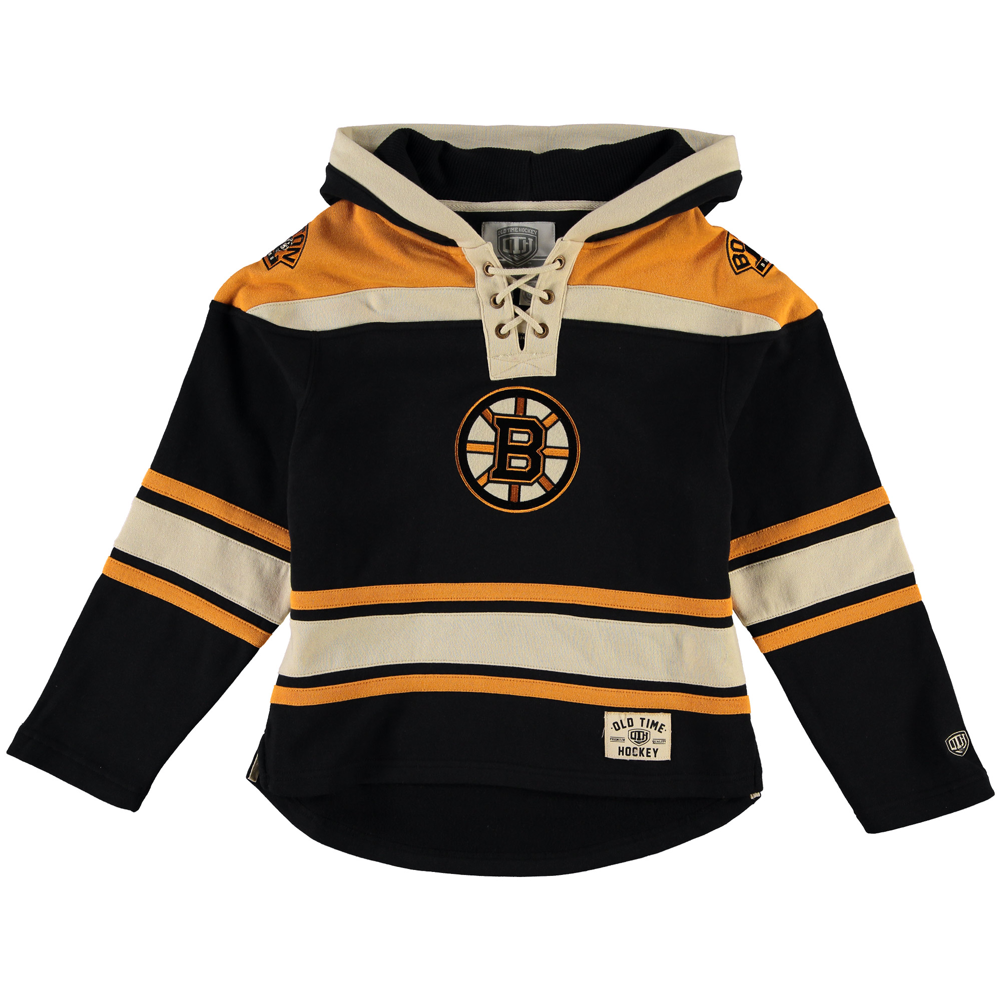 Boston Bruins Old Time Hockey Youth Current Lacer Heavyweight Hoodie Black by Old Time Hockey