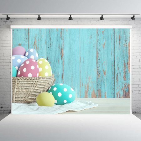 HelloDecor Polyster 7x5ft Easter Wood Wall Photography Backdrops Colorful Eggs Photo Studio Background Props Photographic - Easter Photography Backdrops