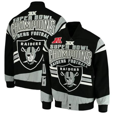 Oakland Raiders G-III Extreme Gladiator Commemorative Cotton Twill Jacket - Black