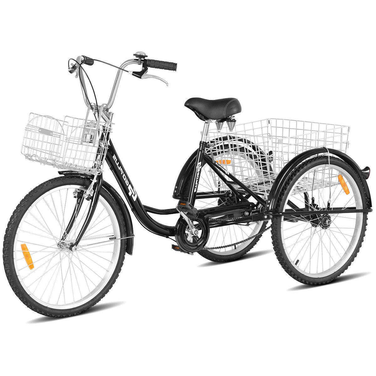 Goplus 24'' Single Speed 3-wheel Bicycle Adult Tricycle Seat Height Adjustable w/ Bell