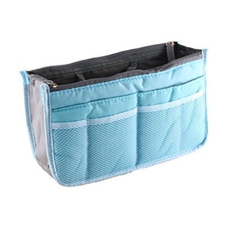 Lian LifeStyle Fashion Bag-In-Bag Multifunctional Organiser Purse Large Liner Organizer Bag Tidy Travel Handbag (Blue)