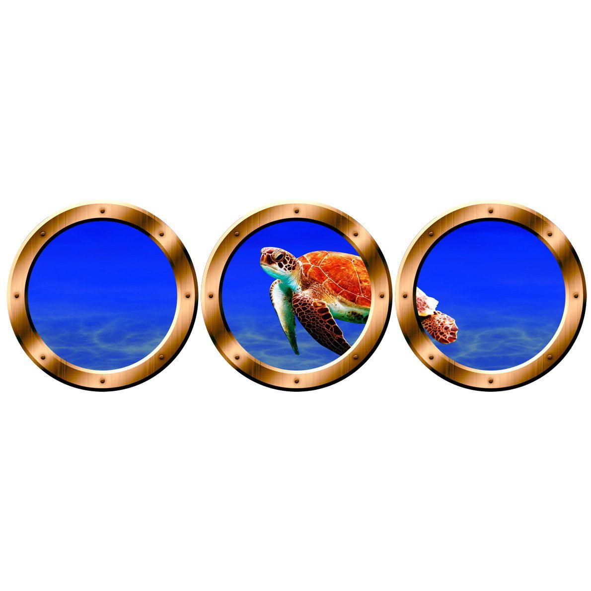 "VWAQ Ocean Porthole - Sea Turtle Animals Wall Stickers, Submarine Window Decal -VWAQ-SPW20 (24"" Diameter, Bronze)"