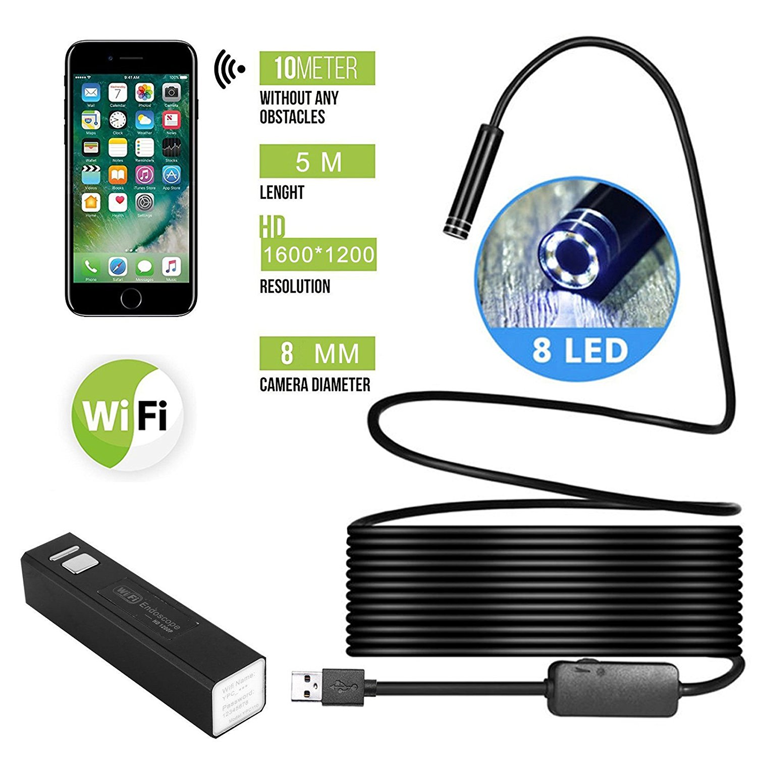 5M 1200P Wifi Endoscope Camera, EEEKit Wireless Borescope Inspection Camera HD 8 LED Adjustable Lights 8mm Waterproof Snake Camera for Android IOS iPhone Smartphones iPad Tablets Laptops