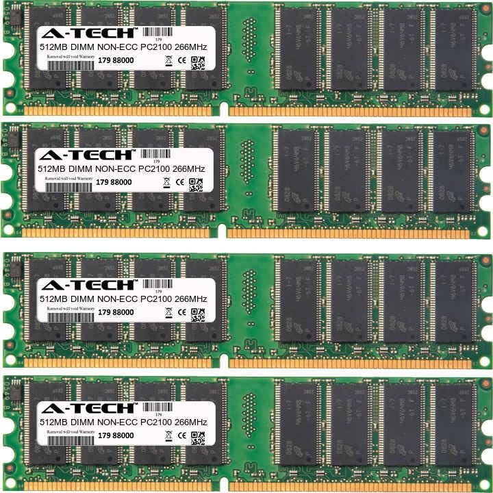 2GB Kit 4x 512MB Modules PC2100 266MHz NON-ECC DDR DIMM Desktop 184-pin Memory Ram